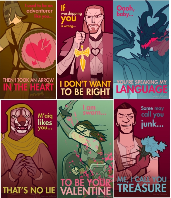 SKYRIM VALENTINES. Need I say more? No, I need not, but I'm going to anyway: Stuart made me a Skyrim themed Valentines Day card last year. IT WAS AWESOME.  Source: http://oxboxer.deviantart.com/?rnrd=3252 (NB for sources of most of my images, look in the mouseover/alt text)